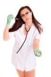 Meisje van de Doktor het medische die gezondheidszorg op wit medisch personeel wordt geïsoleerd als achtergrond nurce Stock Afbeelding