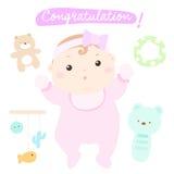Meisje van de gelukwens het nieuwe aanbiddelijke baby Vector Illustratie