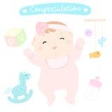 Meisje van de gelukwens het nieuwe gelukkige baby Vector Illustratie