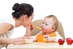 Meisje van de moeder het voedende baby Royalty-vrije Stock Fotografie