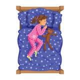 Meisje van de slaap het donkerbruine baby bedtime Het meisje van het beeldverhaalkarakter Stock Afbeeldingen