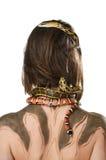 Meisje van terug met bodyart en met slangen in het beeld van Gorgon stock afbeeldingen