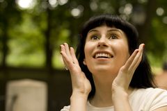 Meisje in verrukking Stock Foto's
