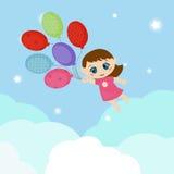 Meisje vliegende ballons Stock Foto