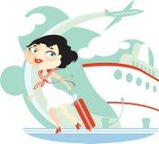 Meisje, vliegtuig, voering Royalty-vrije Stock Fotografie