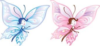Meisje-vlinder royalty-vrije illustratie