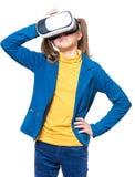 Meisje in VR-glazen royalty-vrije stock afbeeldingen