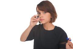 Meisje wat betreft het virtuele scherm met teller Stock Foto's