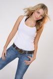 Meisje in wit overhemd Stock Foto