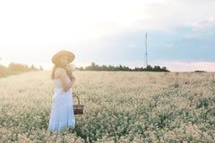 Meisje in witte kleding op een gebied van het gele bloemen tot bloei komen Stock Afbeelding