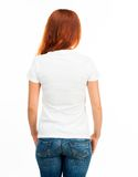 Meisje in witte t-shirt Stock Afbeeldingen