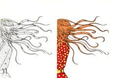 Meisje in zeven haasten met haar haar het fladderen Royalty-vrije Stock Foto