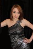Meisje in zilveren kleding Stock Foto