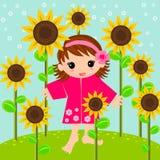 Meisje in zonnebloemenweide stock afbeeldingen