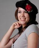 Meisje in Zwarte Baret Royalty-vrije Stock Foto's