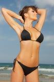 Meisje in Zwarte Bikini Stock Fotografie