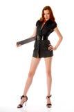 Meisje in zwarte kleding Stock Foto