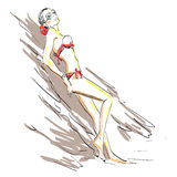 Meisje in zwempak Stock Afbeelding