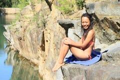 Meisje in zwempak Stock Foto