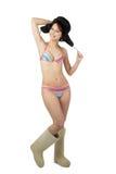 Meisje in zwempakglimlach Royalty-vrije Stock Foto