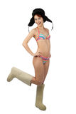 Meisje in zwempakglimlach Royalty-vrije Stock Afbeelding
