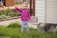 Meisjejong geitje het spelen, hebbend pret outdoors stock foto