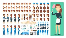 Meisjekarakter in eenvormige reeks voor animatie vector illustratie