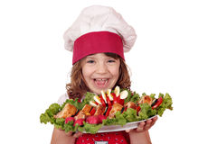 Meisjekok met gastronomisch voedsel stock afbeeldingen