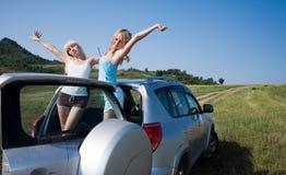 Meisjes in auto Royalty-vrije Stock Afbeelding
