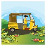 Meisjes berijdende driewieler op weg vector illustratie