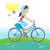 Meisjes berijdende fiets op de zomervakantie Vector illustratie Stock Afbeelding