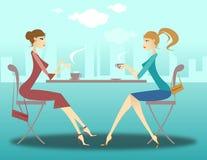 Meisjes bij de koffie Stock Foto's