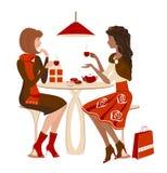 Meisjes bij een koffie stock illustratie