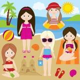 Meisjes bij het strand Stock Afbeeldingen