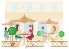 Meisjes bij straatkoffie. Vector vector illustratie