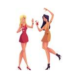 Meisjes, blonde en zwarte haired, in plotseling het rode kleding dansen vector illustratie