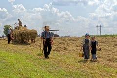 Meisjes Carry Water voor Hay Crew Royalty-vrije Stock Afbeelding