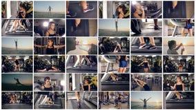 Meisjes in de gymnastiek Actieve sport, gezonde levensstijlachtergrond stock footage