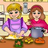 Meisjes in de keuken stock illustratie