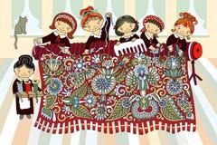 Meisjes die bij hand-weefgetouw het weven werken stock illustratie