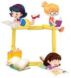 Meisjes die Boek Houten Kader lezen vector illustratie