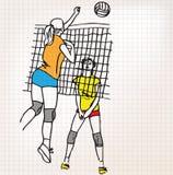 Meisjes die de illustratie van de volleyballschets spelen stock illustratie