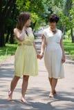 Meisjes die in de park toetredende handen lopen Stock Fotografie