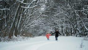 Meisjes die in de Sneeuw in het Bos lopen stock video