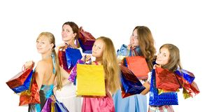 Meisjes die het winkelen zakken houden royalty-vrije stock foto