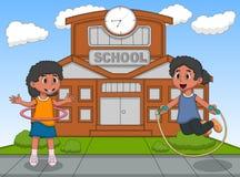 Meisjes die hulahop en touwtjespringen voor hun schoolbeeldverhaal spelen royalty-vrije illustratie