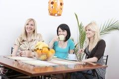 Meisjes die koffie drinken en pret hebben Royalty-vrije Stock Afbeelding