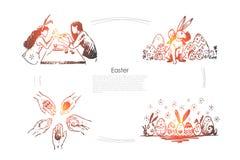 Meisjes die konijntjesoren, eieren dragen die, het traditionele feestelijke malplaatje van de jachtbanner verfraaien stock illustratie