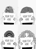 Meisjes die lege documenten of tekens houden vector illustratie