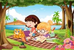 Meisjes die onder bomen in mooi park lezen royalty-vrije illustratie